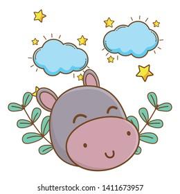 cute animal face dreaming cartoon