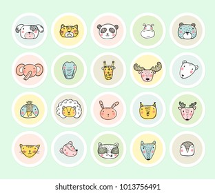 Cute Animal Face Heads Round Stickers Set. Hand drawn Doodle Cartoon Funny Wild Animals, Pets and Birds labels. Vector Circle Tags
