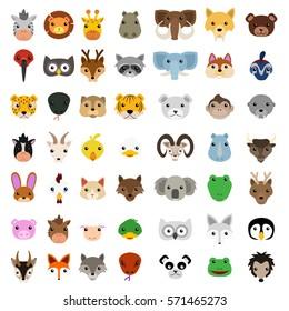 Cute Animal Faces Clip Art. Emoji Vector Design. Emoticon Fauna Icons.
