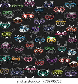 Cute animal faces with funny glasses doodle vector seamless pattern
