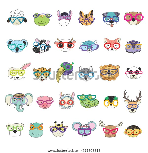 Cute Animal Faces Funny Glasses Doodle Stock Vector Royalty Free 791308315,Hacks Space Saving Ideas For Small Apartments