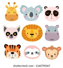 Cute animal faces. Hand drawn characters. Vector illustration.