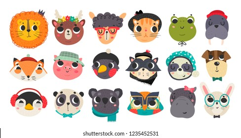 Cute animal faces. Hand drawn colored avatars. Big vector set. All elements are isolated