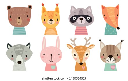 Cute animal faces. Hand drawn characters. Sweet funny animals. Vector illustration.