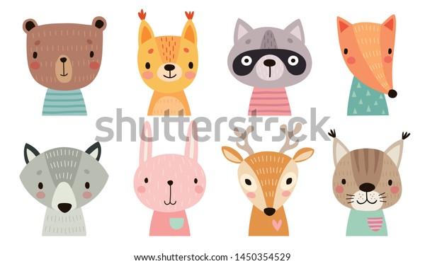 かわいい動物の顔 手書きの文字 甘いおかしな動物 ベクターイラスト