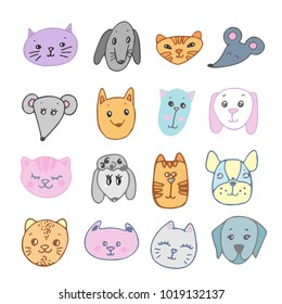 Cute Animal Faces Set. Hand drawn Doodle Cartoon cats, dogs, mouses Vector illustration
