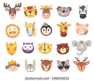 Cute animal faces vector set with isolated cartoon heads of bear, fox, tiger, bunny or rabbit, elephant, monkey, koala and deer. Funny owl, pig, giraffe and zebra, lion, cow, penguin and racoon