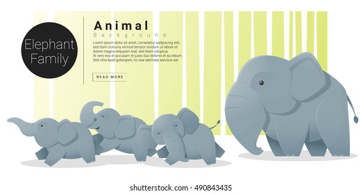 Cute animal family background with Elephants , vector , illustration