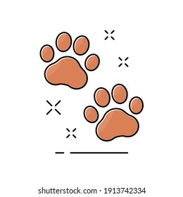 Cute animal foot. Footprint dog or cat. Graphic outline paw. Pet service. Icon pawprint in comic style. Paw prints. Cute sign dogs or cats. Cartoon pets design for print. Trail shape logo. Vector