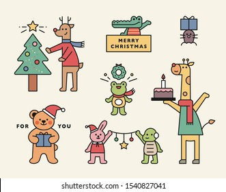 Cute animal friends are preparing for Christmas party. flat design style minimal vector illustration.