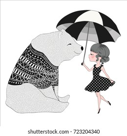 cute animal and girl illustration.
