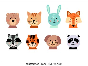 Cute animal hand drawn faces set on white background. Cartoon characters of bear, cat, bunny, fox, raccoon, tiger, dog, panda. Perfect for baby or kid design. Vector illustration
