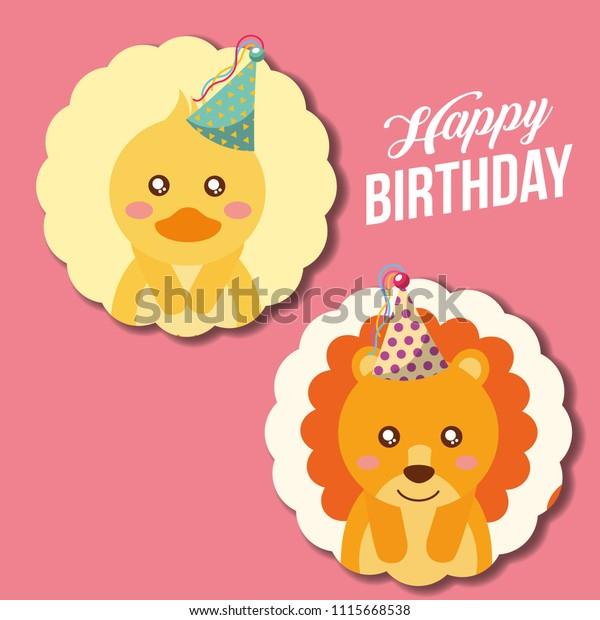 Cute Animal Happy Birthday Stock Vector Royalty Free 1115668538