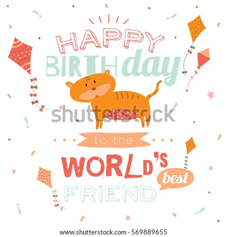 Cute Animal Happy Birthday Card Stylish Invitation Poster In Funny Style With Tiger And Sparkles