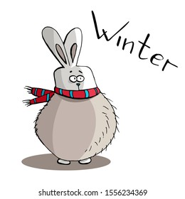 Cute animal hare, rabbit in scarf frozen in winter, lettering cartoon hand drawn vector illustration. Can be used for t-shirt print, kids wear fashion design, baby shower invitation card