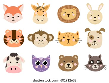Cute animal heads for baby and children design. Fox, giraffe, lion, rabbit, tiger, monkey, cat, dog, cow, owl, bear, raccoon. Vector illustration