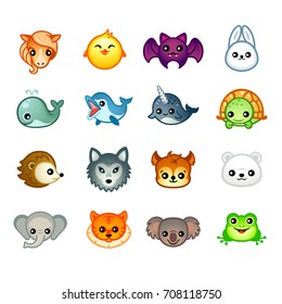 Cute animal heads with emotions in Japanese style