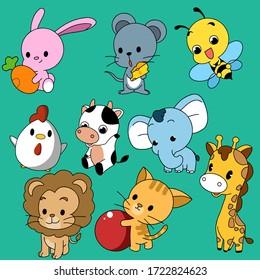 Cute animal  icon .hand drawn.vector illustration.rabbit,rat,bee,chicken,cow,elephant,lion,cat,giraffe