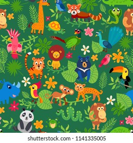 Cute animal in jungle pattern. Print summer exotic plant tropical palm leaves. Illustrations for children. Baby kid tropical paradise design. Seamless tropical flower pattern background.