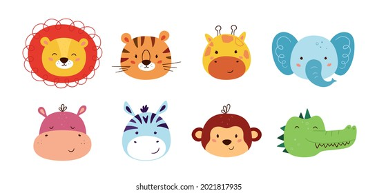 Cute animal kawaii characters. Funny lion, tiger, giraffe, elephant, monkey, hippo, zebra and crocodile. The faces of wild animals. Vector illustration isolated on white background.