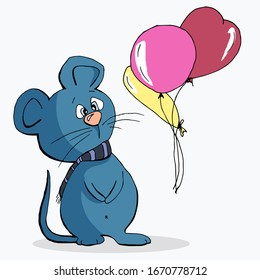 Cute animal mouse in a scarf and balloons cartoon hand drawn vector illustration. Can be used for t-shirt print, kids wear fashion design, baby shower invitation card