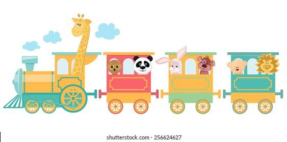 Cute animal on train
