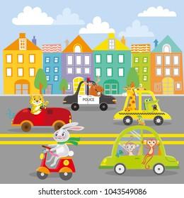 Cute animal on transport in city. Street.Vector illustration