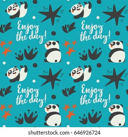 Cute animal Panda seamless pattern with enjoy the day, star, heart, fun, blue