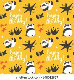 Cute animal Panda seamless pattern with enjoy the day, star, heart, fun, yellow