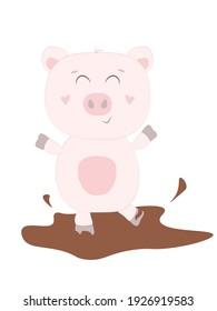 Cute animal pig on white background. Vecor illustration EPS10