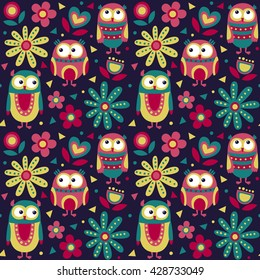 Cute animal seamless pattern made with owls, flowers, nature, plants, leaves, triangles, circles