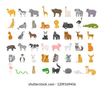 Cute animal set with farm and wild character. Cat and lion, elephant and monkey. Zoo collection. Isolated flat vector illustration