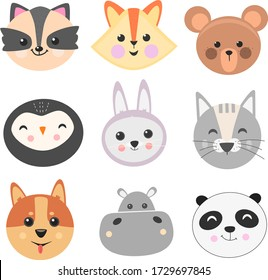 Cute animal set vector illustration. Different animal characters. Fox, owl, bear, rabbit, panda, wolf illustrations
