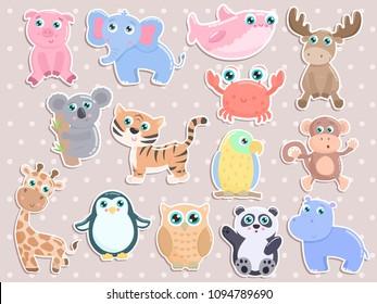 Cute animal sticker set.