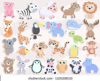 Cute animal sticker set. Flat design