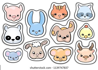 Cute animal sticker set, vector clipart on white background