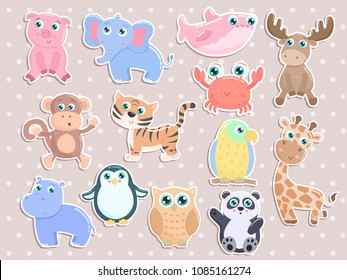Cute animal stickers vector set. Flat design.