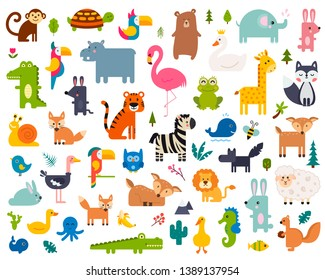 Cute Animal Vector illustration Icon Set isolated on a white background