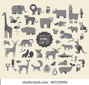 Cute Animal Vector illustration Icon Set.