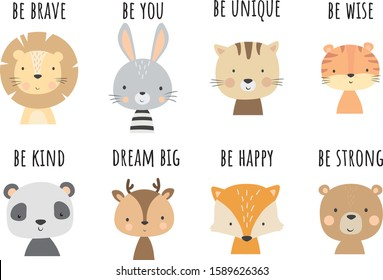 Cute animal vector. Nursery decoration room. Can be use for any other ocasion for baby or kid.