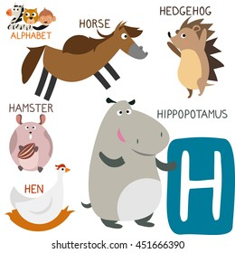Cute Animal Zoo Alphabet. Letter H for Hippopotamus, Horse, Hedgehog, Hamster and Hen. Fun teaching aids for Kids