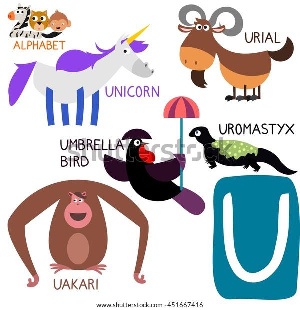 Cute Animal Zoo Alphabet Letter U Stock Vector (Royalty Free ...