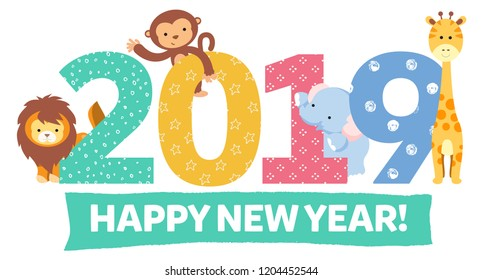 Cute animals 2019 Happy New Year banner vector ilustration