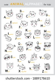 Cute Animals Alphabet for Kids. Cartoon English Alphabet for Children. Hand Drawn Lovely Baby Animal Faces with Doodle Latin Letters and Names. Childish Vector ABC Poster for Preschool Education