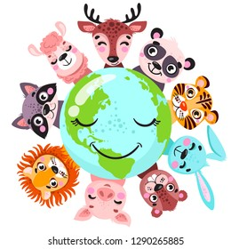 Cute animals around globe banner vector illustration. Animals planet concept, world continents fauna, world map with wild animals. Panda, lion, raccoon, deer, pig, llama, hare, tiger  in cartoon style