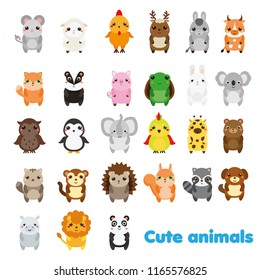 Cute animals. Big set of cartoon kawaii wildlife, forest and farm animals icons. Stickers, educational design elements for kids