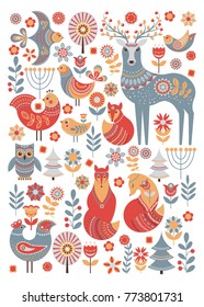 Cute animals and birds in a fairy forest. Deer, owl, foxes, birds, flowers, spruce. Poster, postcard. A set of characters and decorative elements.