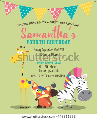 cute animals birthday party invitation card stock vector royalty