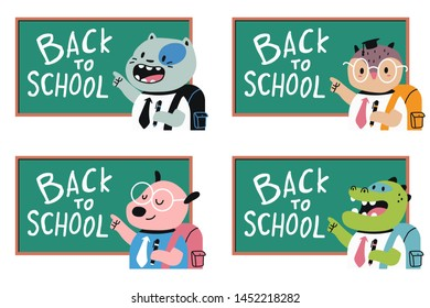 Cute animals at the blackboard. Back to school vector cartoon set isolated on white background.