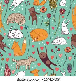 cute animals blue seamless pattern
